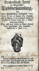 Bruderschaft Zettel, [1789]